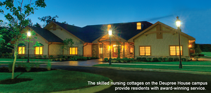 The skilled nursing cottages at Deupree House provide award-winning service and care
