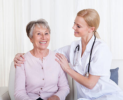 senior patient receiving healthcare advice