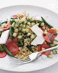 qunoa salad with pickled radishes and feta
