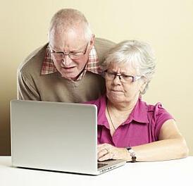 Confused senior couple