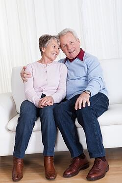 happy relaxed senior couple