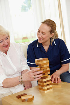 Senior woman with her in-home nurse