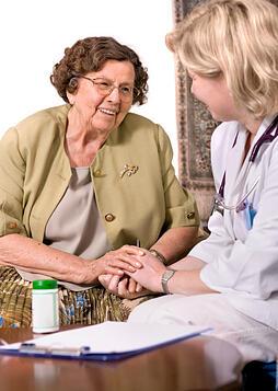 Nursing home resident and nurse
