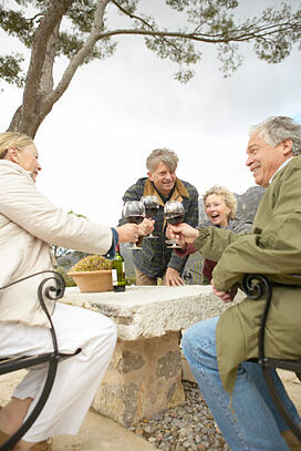 A group of seniors enjoy a wine tasting